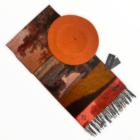 Női 2 részes sál/sapka ajándék szett, Secret Forest Terra, narancslekvár