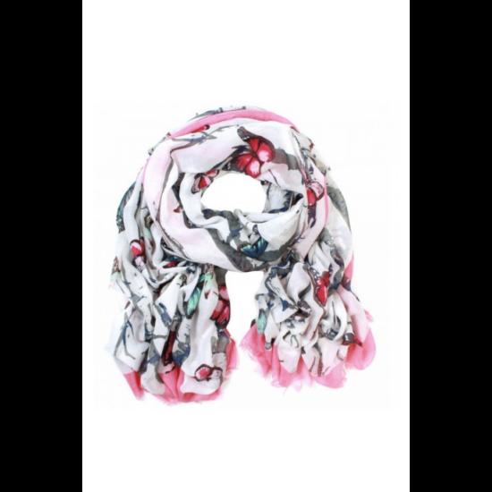 Női pamut sál, pillangó, 80x190, pink színben