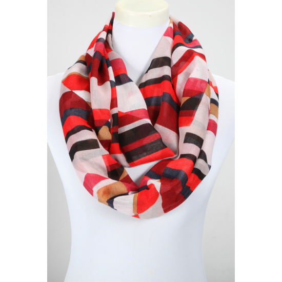 Női loop sál, absztrakt csíkos, piros/fekete/fehér színben