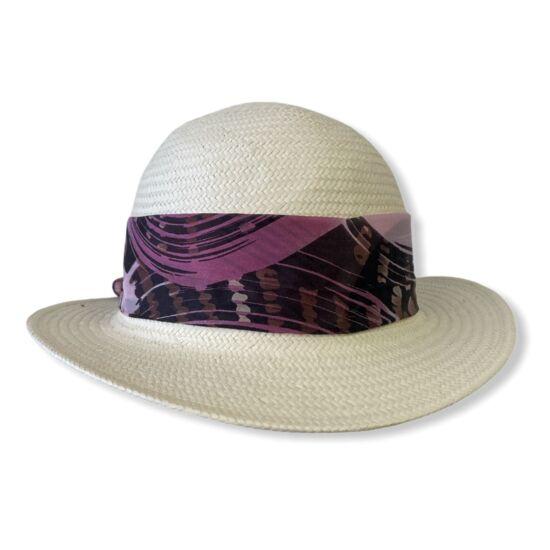 női selyem panama kalap, kisszélű