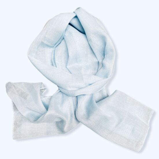 Női viszkóz-pamut sál, üni, világos kék színben