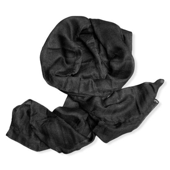 Női viszkóz-pamut sál, üni, fekete színben