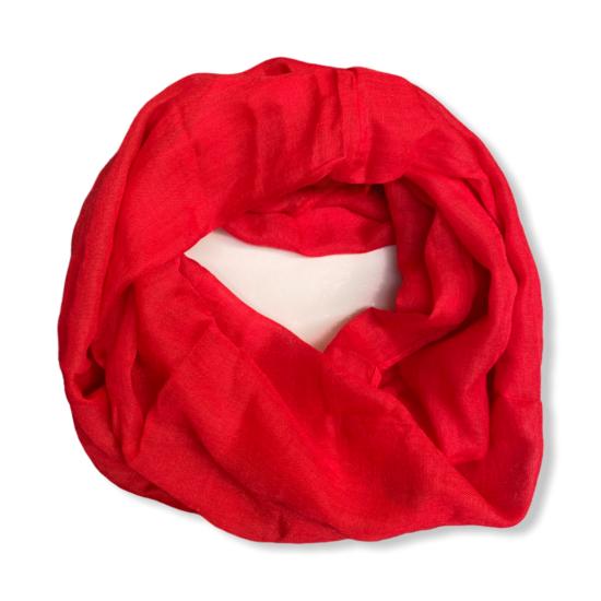 Női viszkóz-pamut loop sál, üni, piros színben