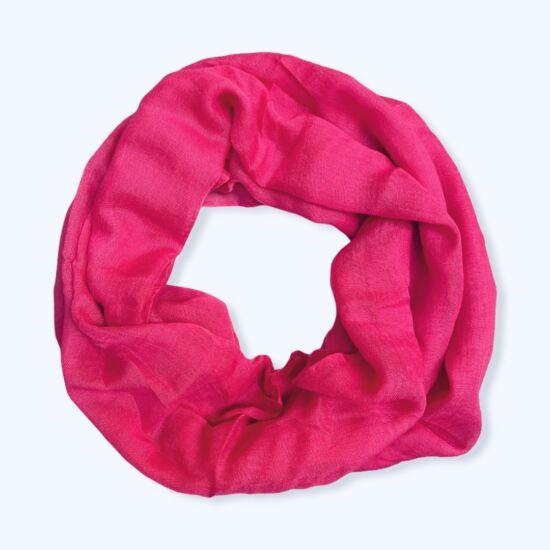 Női viszkóz-pamut loop sál, üni, pink színben