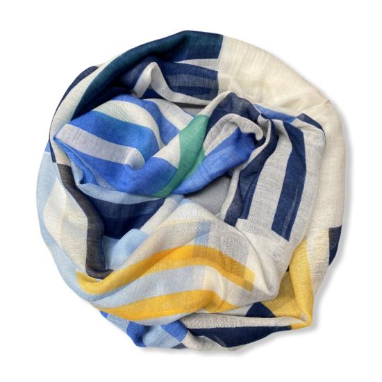 Női viszkóz loop sál, geometrikus, világos kék-benetton színben