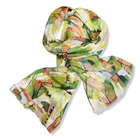 Női viszkóz-selyem sál, forest, zöld színben