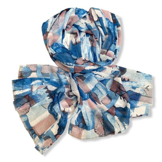 Női viszkóz-selyem sál, forest, kék színben