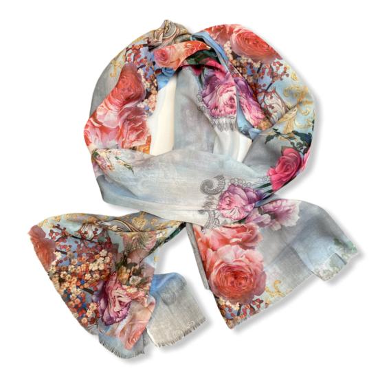 Női viszkóz-selyem sál, bloom, világos kék színben