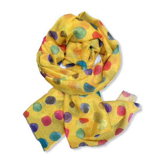 Női viszkóz-selyem sál, color dots, sárga színben
