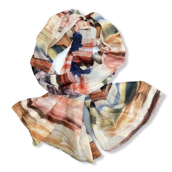 Női viszkóz-selyem sál, mixed paint, bézs színben