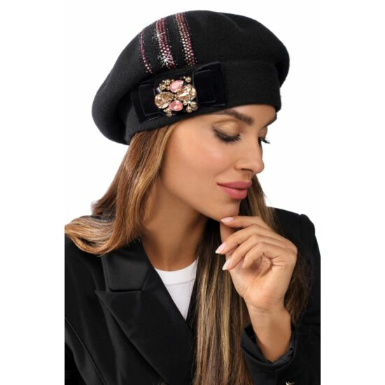Willi Tivalot női gyapjú barett strasszokkal, fekete