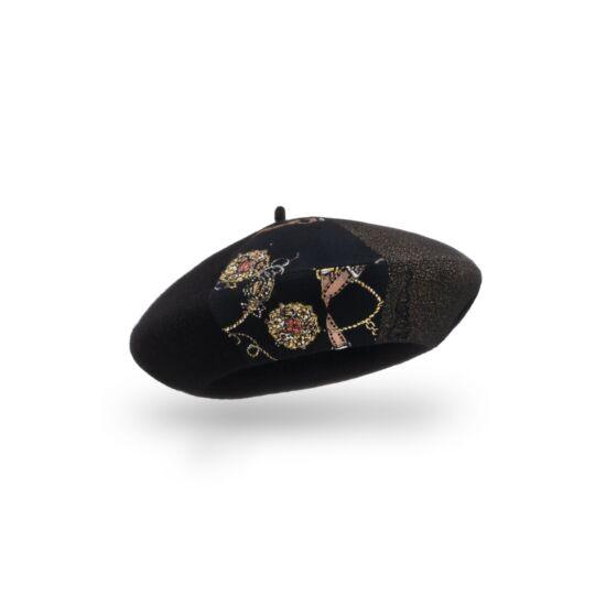 Willi Ravi női gyapjú barett sapka, fekete színben