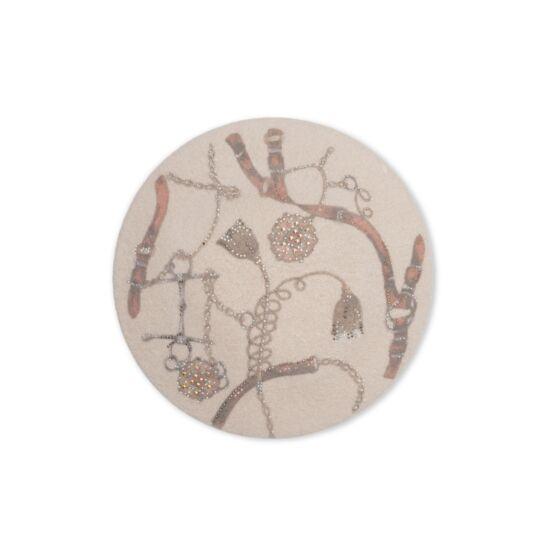 Willi Rivana női gyapjú barett sapka, bézs színben