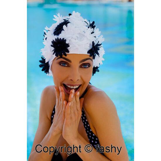 női virágos úszósapka, nylon, <b>több lehetőség</b>
