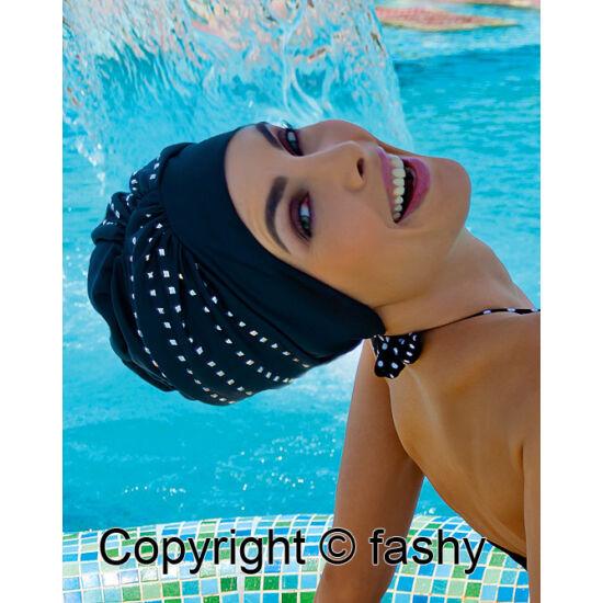 női exkluzív úszósapka, tépőzáras, ezüst díszítés